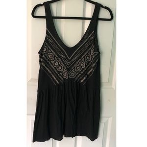 Black Sleeveless and Gold Embroidery Boho Top